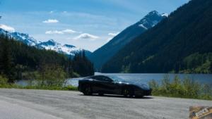 Ferrari F12 in front of Duffy Lake