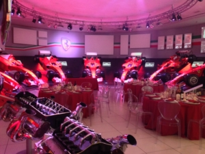 Dinner in the Hall of Victories at the Ferrari museum
